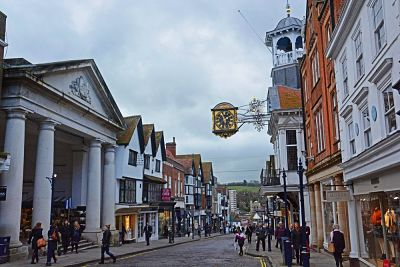 Image of the High Street in Guildford, where Lingard Jones provides Handyman Services
